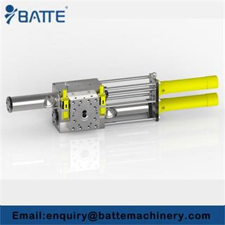 Piston type backflush continuous screen changer