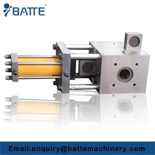Screen changer for double-screw foaming sheet extruder